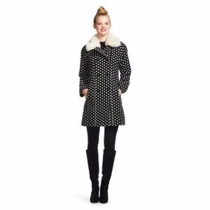 NWT-Wool Blend Coat w/ Faux Fur Detachable Collar!